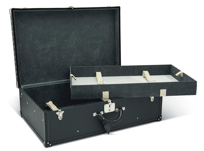 A set of three a black Taiga leather Alzer 70; an Alzer 80 and a shoe trunk with silver hardware, Louis Vuitton, 2010s