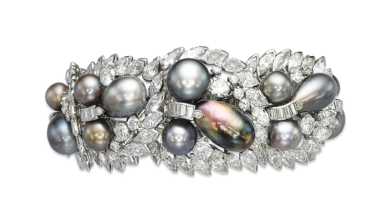 A pearl and diamond bracelet, by Cartier. Sold for CHF 567,000 on 13 November 2012 at Christie's in Geneva