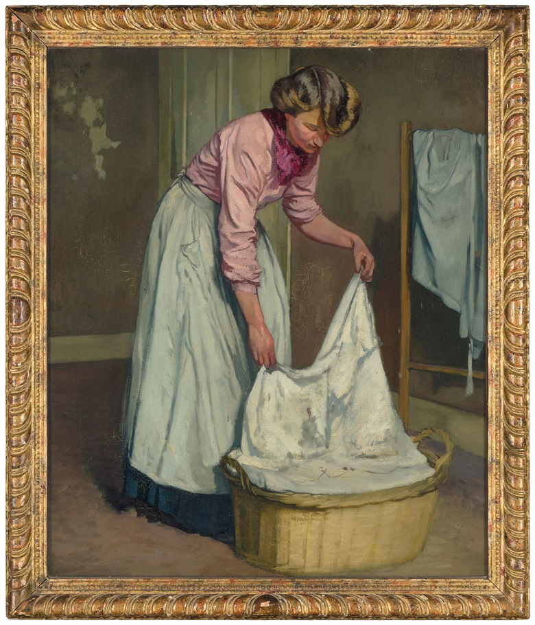 Albert Daniel Rutherston (1881-1953), A Laundry Girl, circa 1906. Oil on canvas. 30 x 25 in (76.3 x 63.5 cm). Together with Albert Daniel Rutherston, A Sketch for Laundry Girls. Pencil on paper. 18¾ x 24 (47.7 x 61 cm). Estimate £2,000-3,000. Offered in Gloria Property from the late Dowager Countess Bathurst on 22 July at Christie's in London