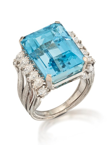 Cut-cornered rectangular aquamarine, marquise-cut diamond and textured feather shoulders, 1965, ring size Q (sprung insert). Estimate £2,000-3,000. Offered in Gloria Property from the late Dowager Countess Bathurst on 22 July at Christie's in London