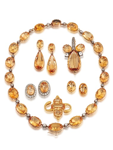 A 19th-century topaz suite. Estimate £18,000-25,000. Offered in Gloria Property from the late Dowager Countess Bathurst on 22 July at Christie's in London