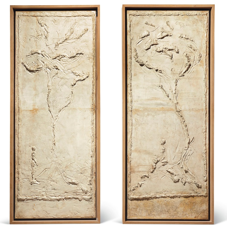 Alberto Giacometti (1901-1966), Template plasters for a pair of doors, c. 1954. Plaster, each panel 87 x 33⅝ x 2¼ in (221 x 85.5 x 6 cm). Estimate on request. View Impressionist and Modern Art currently offered for private sale at Christie's