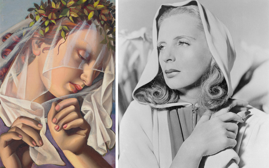 From left Tamara de Lempicka (1898-1980), La couronne de fleurs II, 1950. Offered in Dialogues Modern and Contemporary Art, 26 June-14 July, online. Right Tamara de Lempicka photographed in 1941.