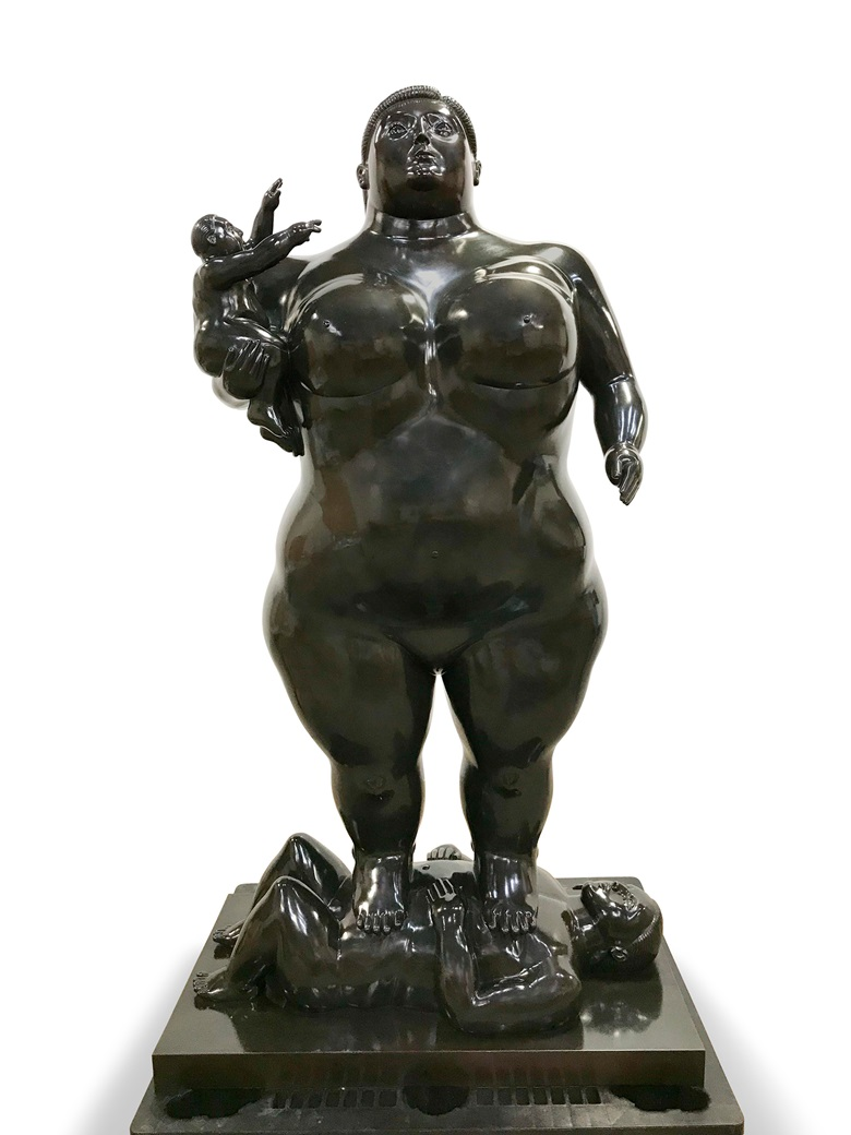 Fernando Botero, Mother and Child. Bronze with black patina. 82 x 45¼ x 27⅜ in (208.2 x 115 x 70 cm). Available for immediate purchase