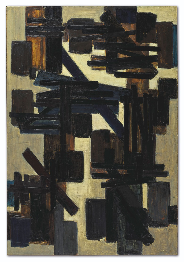 Pierre Soulages, Peinture 130 x 89 cm, 25 novembre 1950. Oil on canvas. 130 x 190 cm. Estimate €2,000,000-3,000,000. Offered on 10 July in ONE at Christie's in Paris. Artwork © Pierre Soulages, DACS 2020.