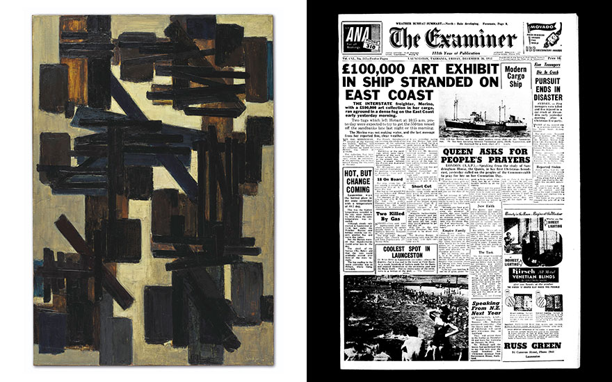 From left Pierre Soulages, Peinture 130 x 89 cm, 25 novembre 1950. Oil on canvas. 130 x 190 cm. Estimate €2,000,0000-3,000,000. Offered on 10 July in ONE at Christie's in Paris. Artwork © Pierre