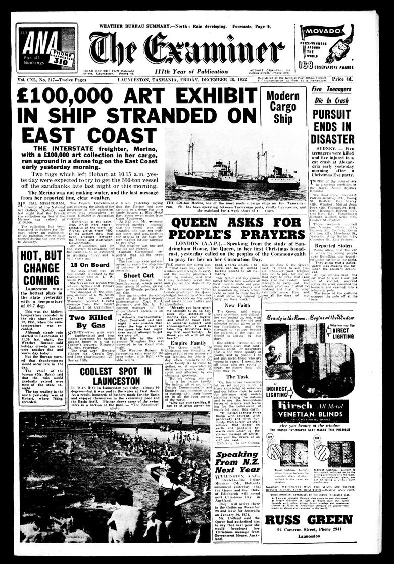 The front page of The Examiner, 26 December 1952. TheExaminer (Launceston, Tas. 1900-1954) 26 December 1952 1. National Library of Australia. httpnla.gov.aunla.news-page4695719