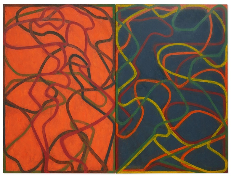 Brice Marden, Complements, 2004-2007. Diptych, oil on canvas. Overall 72 x 96 in (182.9 x 243.8 cm). Each canvas 72 x 48 in (182.9 x 121.9 cm). Estimate $28,000,000-35,000,000. Offered in ONE New York on 10 July