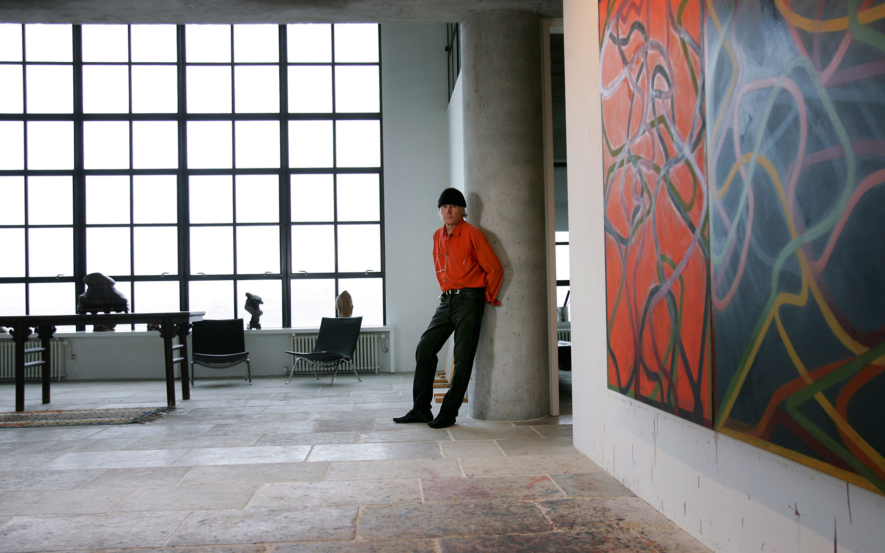Brice Marden in his New York studio, 2006, with Complements, 2004-2007. Photo Tony Cenicola  The New York Times  Redux  ​eyevine. Artwork © Brice Marden  DACS 2020