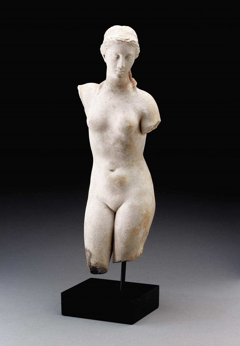 A Greek marble figure of Aphrodite. Late Hellenistic period, c. 1st century B.C. 16⅛ in (41 cm) high. Price on request. View Decorative Arts & Antiquities currently offered for private sale at Christie's