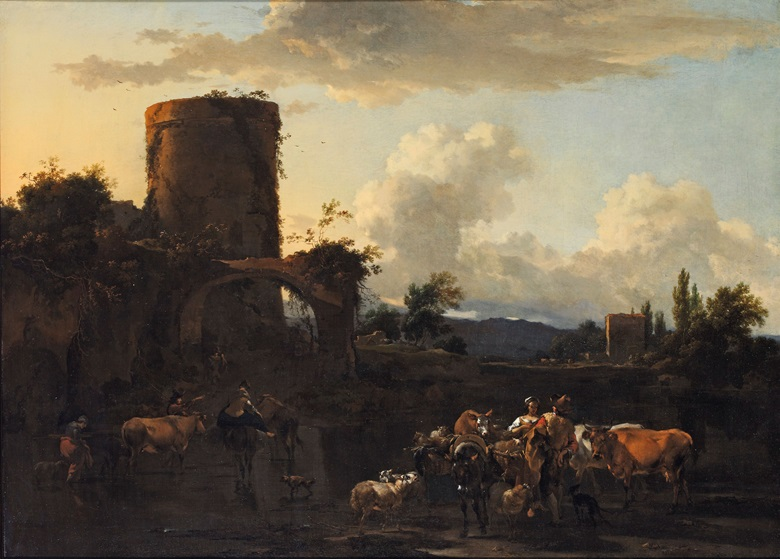 Nicolaes Berchem (1621-1683), An Italianate river landscape at sunset, with drovers and their animals by ruins. Oil on canvas. 28¾ x 39⅜ in (73.1 x 99.7 cm). Price on request. View Old Masters currently offered for private sale at Christie's