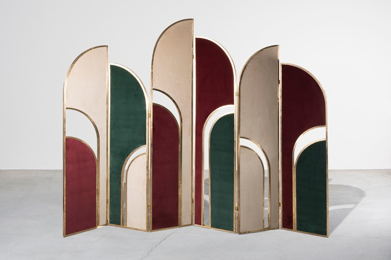 Marsica Fossati. Folding screen from the Meticulous collection, 2018. Brass, velvet fabric. Nilufar edition. Estimate €8,000-12,000. Offered in Nilufar [100] Design Selections, online, 8-29 July