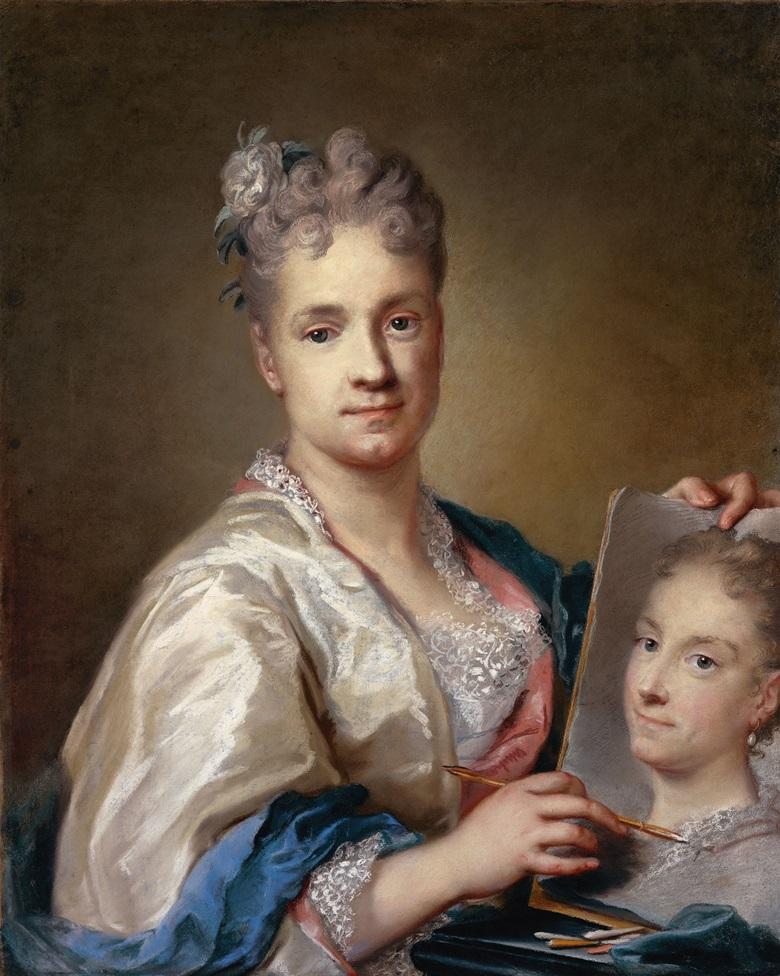 Rosalba Carriera, Self-Portrait, 1709, holding a portrait of her sister Giovanna, pastel on paper. Galleria degli Uffizi, Florence. Photo Mondadori PortfolioElectaRemo BardazziBridgeman Images