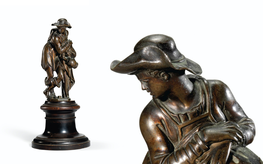 Antonio Susini (fl. 1580-1624 Florence), after a model by Giambologna, circa 1600-1620, Peasant Resting on His Staff. Bronze. 5 in (12.9 cm) high; 8 in (20.4 cm) high, overall. Estimate