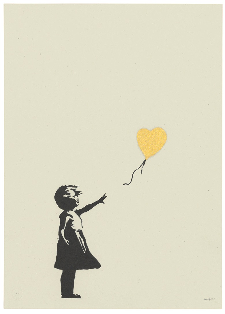 Banksy (b. 1975), Girl with Balloon — Colour AP (Gold), 2004. Screenprint in black and gold. Sheet 695 x 495 mm. Sold for £395,250, 24 Sep 2019, Online
