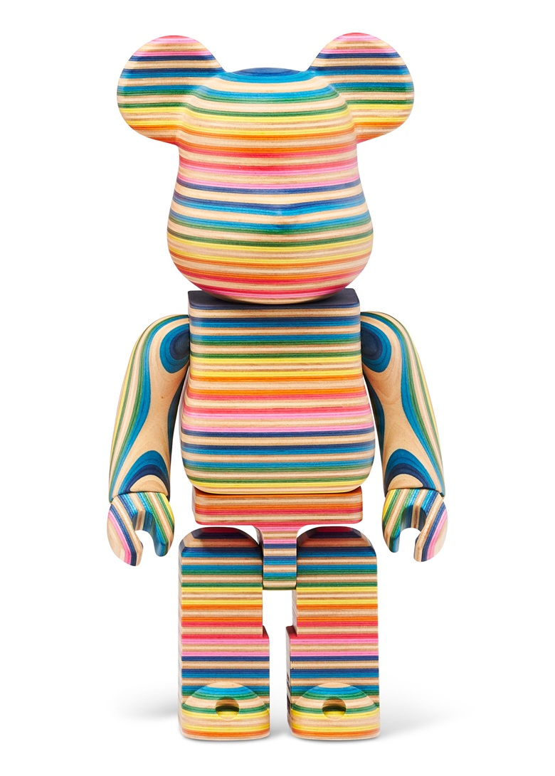 HAROSHI X KARIMOKU (b. 1978), BE@RBRICK KARIMOKU HAROSHI 400%, 2019. Repurposed skate deck maple wood multiple. 10½ x 5½ x 3 in (27 x 14 x 77 cm). Estimate $20,000-30,000. Offered in Trespassing, 5-19 August 2020, Online