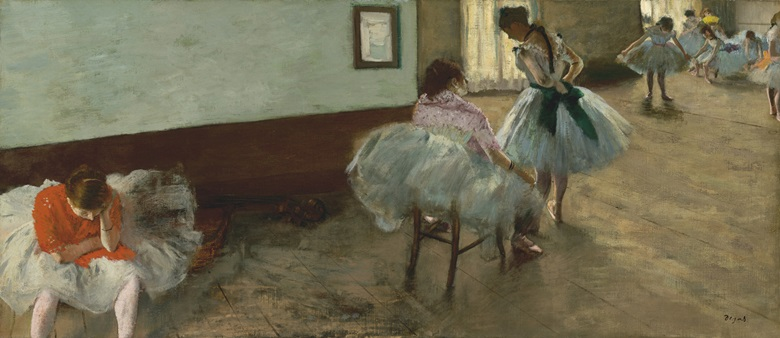 Edgar Degas, The Dance Lesson, c. 1879. Oil on canvas. Overall 38 x 88 cm. framed 59.7 x 108.3 x 5.1 cm. National Gallery of Art, Washington, Collection of Mr. and Mrs. Paul Mellon