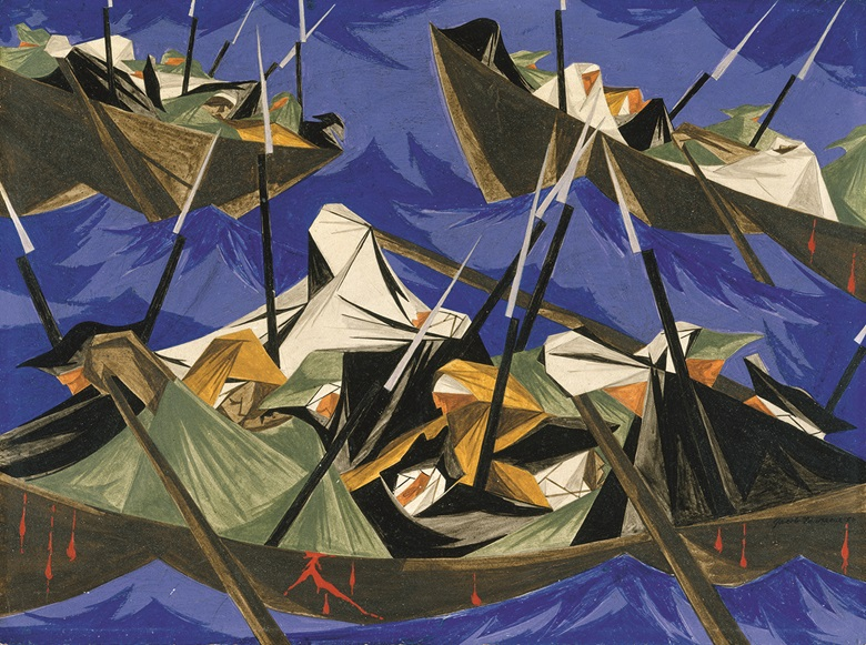 Jacob Lawrence (1917–2000), We crossed the River at McKonkey's Ferry 9 miles above Trenton . . . the night was excessively severe . . . which the men bore without the least murmur... — Tench Tilghman, 27 December 1776. Panel 10, 1954, from Struggle From the History of the American People, 1954-56. Egg tempera on hardboard. The Metropolitan Museum of Art, purchase Lila