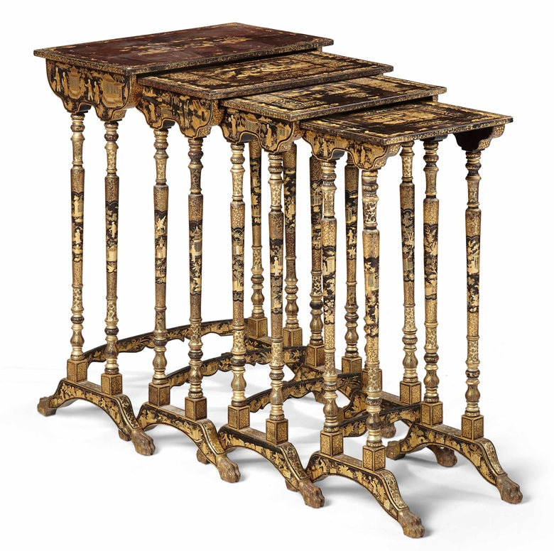 Four Chinese export nesting tables. Early 19th century. Black and gilt lacquer. 28 in (71.1 cm) high, 19 in (48.3 cm) wide, 11½ in (29.2 cm) deep, the largest. Sold for $2,375 in Christie's Living August Collections, 7-20 August 2020, online
