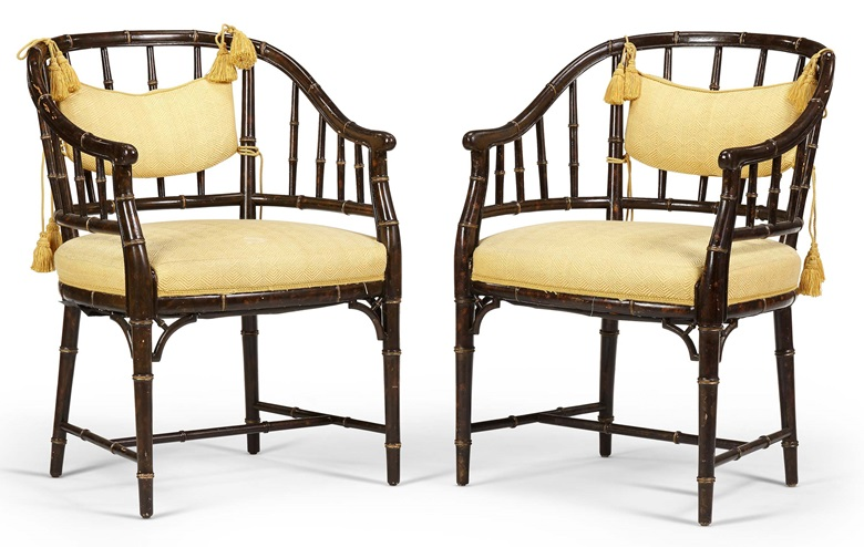 Pair of English tub chairs. Second half 20th century. Faux tortoiseshell and parcel-gilt. Sold for $3,000 in Christie's Living August Collections, 7-20 August 2020, online