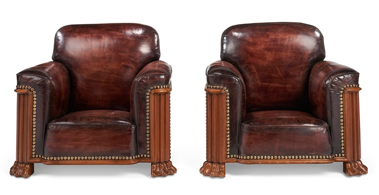 A pair of Art Deco mahogany and close-nailed leather upholstered club chairs. Sold for $10,000 in Christie's Living August Collections, 7-20 August 2020, online