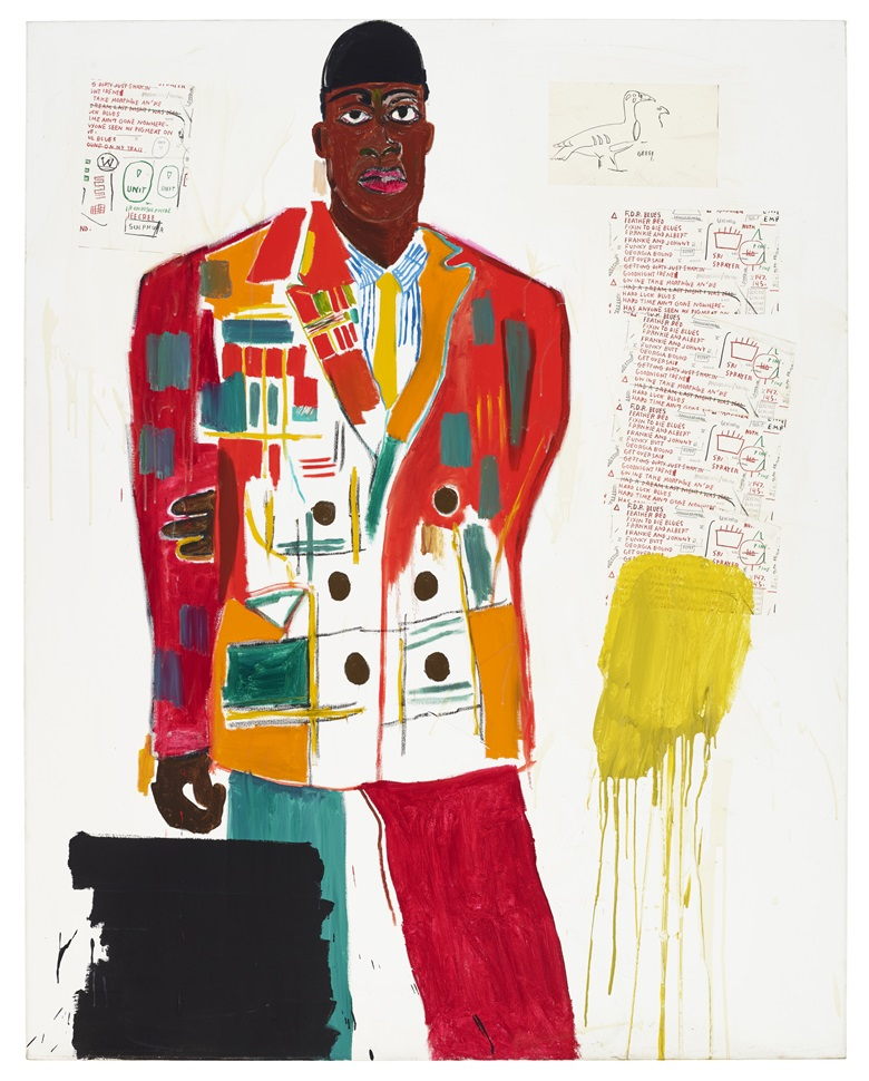 Jean-Michel Basquiat (1960-1988), MP, 1984. Acrylic and Xerox collage on canvas. 86 x 68 in (218.4 x 172.8 cm). Estimate $4,000,000-6,000,000. Offered in 20th Century Evening Sale on 6 October 2020 at Christie's in New York. Artwork © The Estate of Jean-Michel Basquiat  ADAGP, Paris and DACS, London 2020