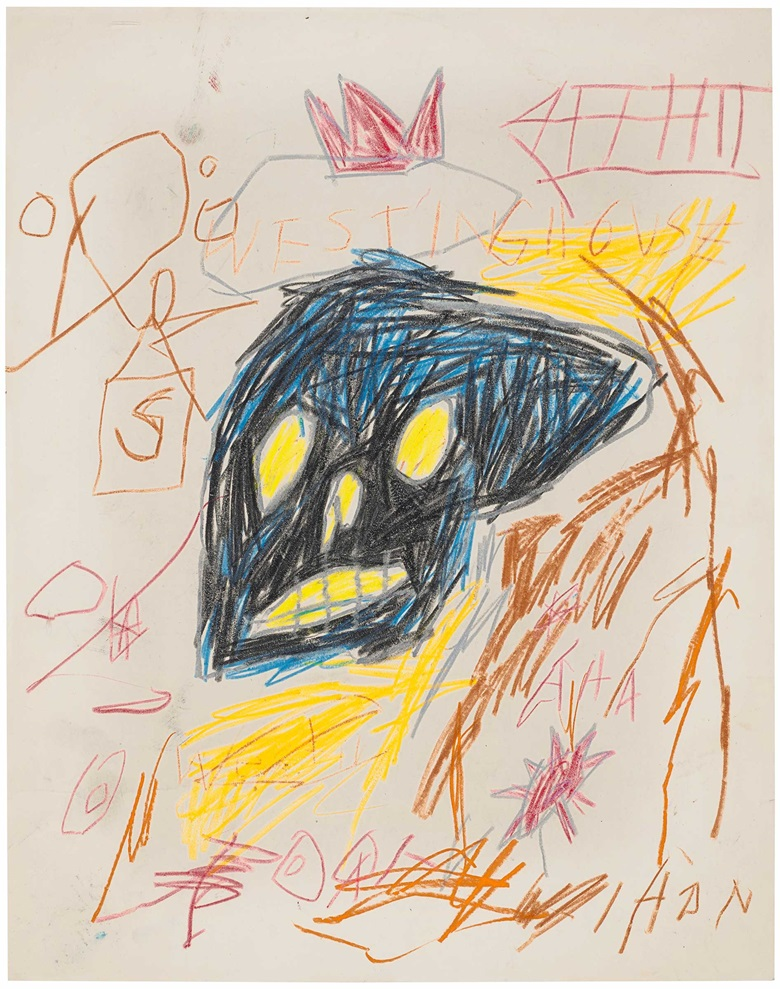 Jean-Michel Basquiat (1960-1988), Untitled, 1982. Wax crayon on paper. 14 x 11 in (35.6 x 28 cm). Estimate $150,000-200,000. Offered in Post-War and Contemporary Art Day Sale on 7 October 2020 at Christies in New York. Artwork © The Estate of Jean-Michel Basquiat  ADAGP, Paris and DACS, London 2020