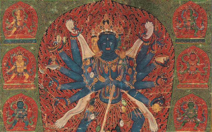 Detail of an important imperial painting of Chakrasamvara, China, dated to the 13th year of Chenghua, corresponding to 1477. Dimensions 24¾ x 19  in (62.8 x 48.2  cm). Estimate