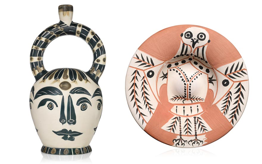 Left to right Pablo Picasso (1881-1973), Vase aztèque aux quatre visages (A.R. 402), conceived in 1957 and executed in a numbered edition of 100. Height 21¼ in (54 cm). Estimate