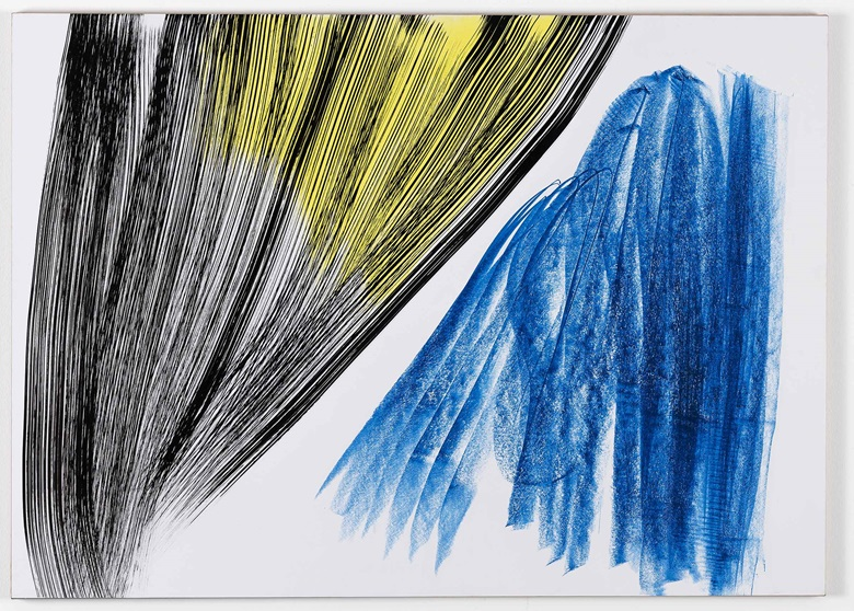 Hans Hartung, P1973-A36, 1973. Ink, pastel and acrylic on cardboard. 29⅜ × 41⅛ in (74.6 x 104.4 cm). Offered in La Biennale Paris, 24 September-8 October, Online. Courtesy of @perrotin