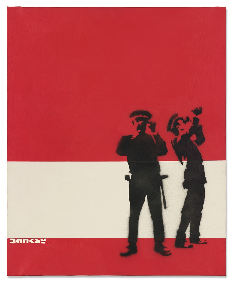 Banksy (b. 1974), Avon and Somerset Constabulary (Red and White), 2000. Spraypaint and emulsion on canvas. 33½ x 27⅛ in (85 x 69 cm). Price on request. Offered for private sale through Christie's