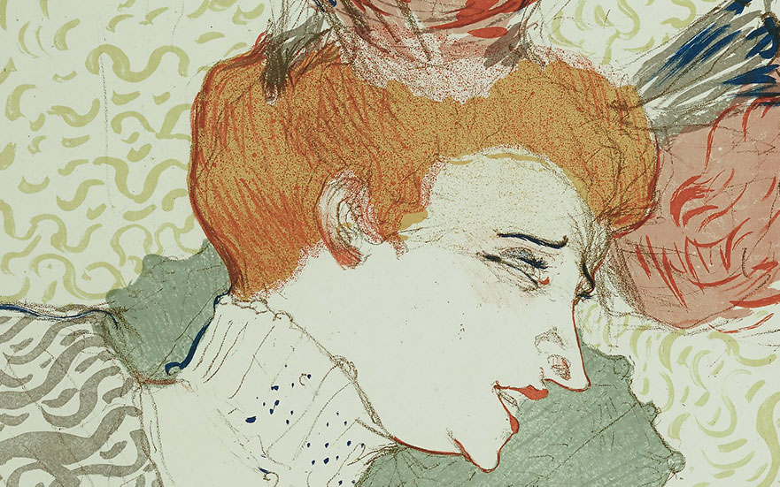 Henri de Toulouse-Lautrec (1864-1901), Mademoiselle Marcelle Lender, en buste, 1895 (detail). Lithograph in colours. Sheet 14⅝ x 11⅛ in (37.0 x 28.2 cm). Estimate $7,000-10,000. Offered in The