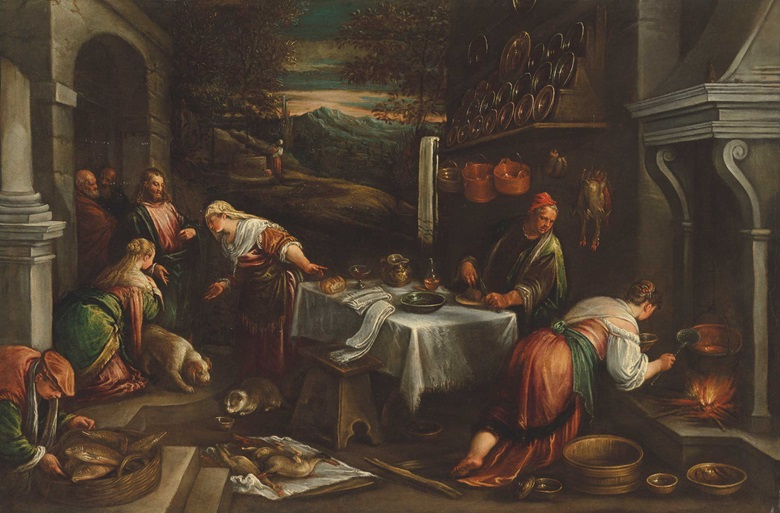 Francesco Da Ponte, also called Francesco Bassano (1549-1592), or Jacopo Da Ponte, Christ in the House of Mary and Martha. Oil on canvas, 34⅞ x 51⅞ in (88.5 x 131.6 cm). Estimate £20,000-30,000. Offered in Discovering Old Masters The Legacy of Piero Corsini, 23 September-7 October 2020, Online