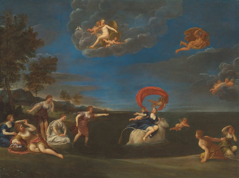 Francesco Albani (1578-1660) and studio, The Rape of Europa. Oil on canvas, 55⅜ x 74.5 in (145.5 x 189 cm). Estimate £20,000-30,000. Offered in Discovering Old Masters The Legacy of Piero Corsini, 23 September-7 October 2020, Online