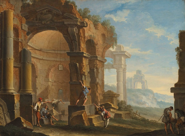 Sebastiano Ricci (1659-1734) and Clemente Spera (c.1661-1742), A Capriccio with Figures Conversing by Classical Ruins. Oil on canvas, 25¾ x 34½ in (65.5 x 87.8 cm). Estimate £25,000-35,000. Offered in Discovering Old Masters The Legacy of Piero Corsini, 23 September-7 October 2020, Online