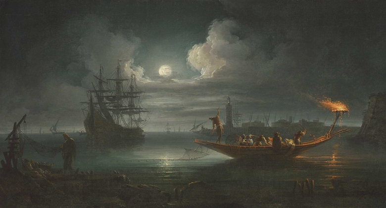 Francesco Fidanza (1747-1819), A Moonlit Mediterranean Harbour with Fishermen Pulling in Their Catch, with a Full-rigged Pinnace and Other Shipping Beyond. Oil on canvas, 21⅜ x 39⅜ in (54.2 x 100.1 cm). Estimate £15,000-25,000. Offered in Discovering Old Masters The Legacy of Piero Corsini, 23 September-7 October 2020, Online