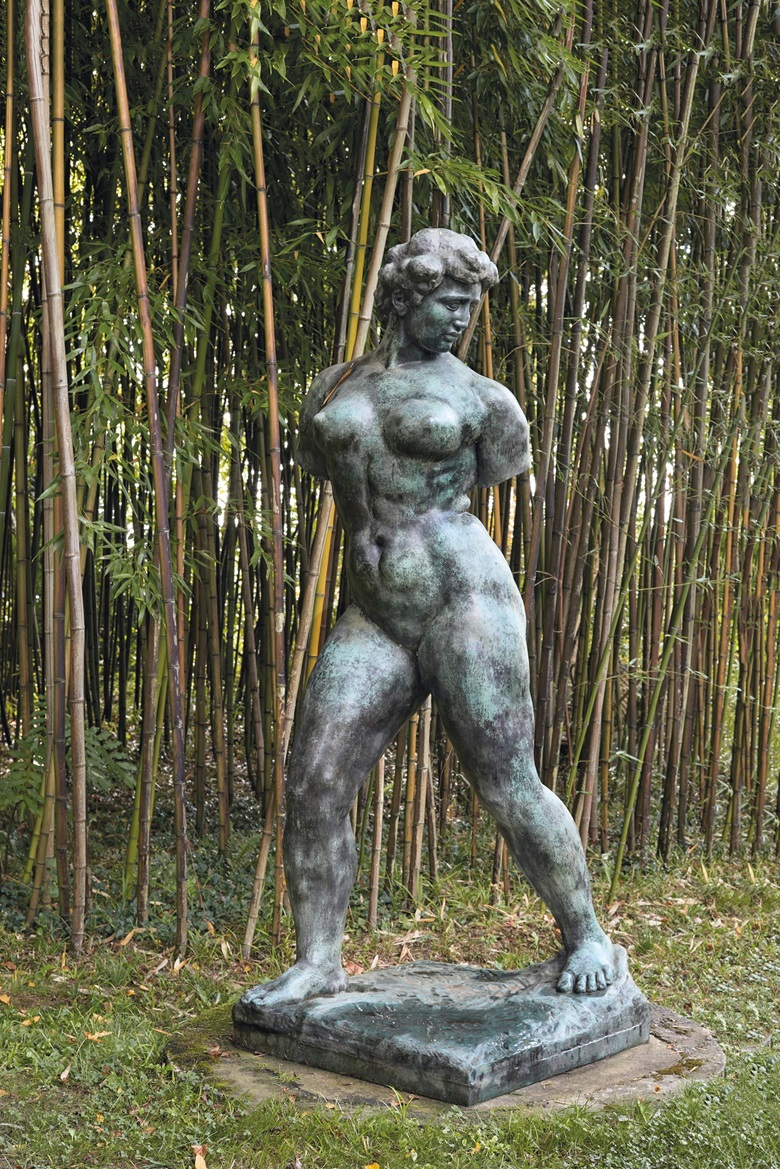 Aristide Maillol (1861-1944), L'Action enchaînée, Monument à Auguste Blanqui sans bras, conceived in 1906 and cast after 1962 in an edition of six. Bronze with green patina. 85 in (216 cm) high. Estimate €500,000-700,000. Offered in The Secret Garden of Paul Haim on 22 October at Christie's in Paris