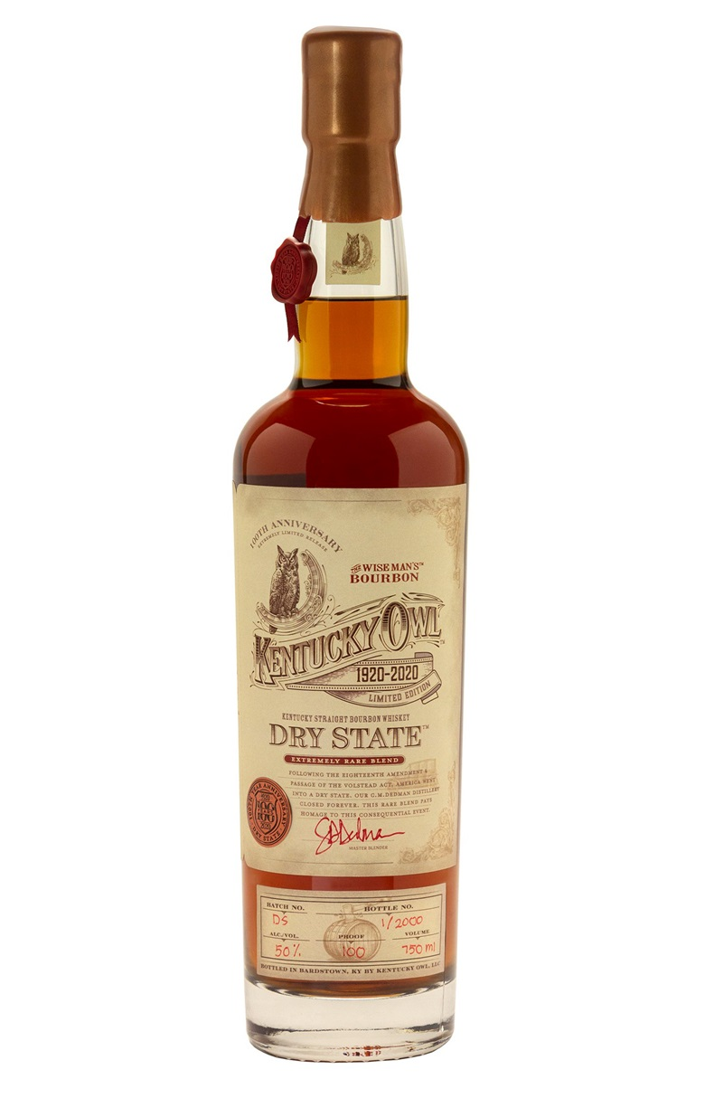 Kentucky Owl Dry State 100th Anniversary Edition Straight Bourbon, Kentucky. Bottle #38 of 2000. Estimate $1,900-2,600. Offered in Wine & Spirits, 17 September to 1 October 2020, Online