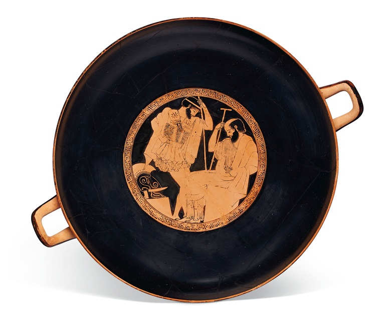 An Attic red-figured kylix, attributed to Makron as painter, signed by Hieron as potter, c. 490-480 BC. 13⅜ in (34 cm) diameter. Estimate $1,200,000-1,800,000. Offered in Antiquities on 13 October 2020 at Christie's in New York