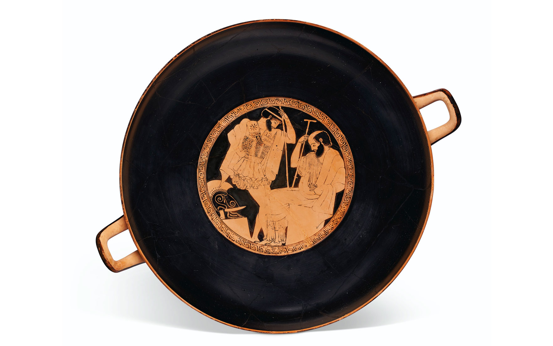An Attic red-figured kylix, attributed to Makron as painter, signed by Hieron as potter, c. 490-480 BC. 13⅜ in (34 cm) diameter. Estimate $1,200,000-1,800,000. Offered in Antiquities on 13
