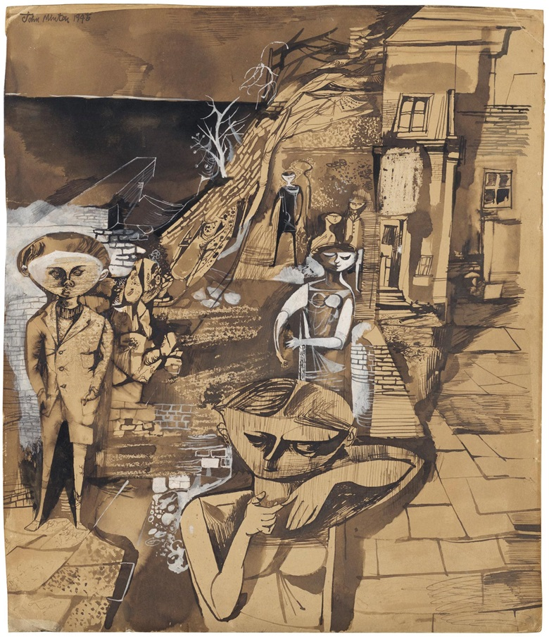 John Minton, Children by the Sea, 1945. Ink, wash and gouache on paper. 18⅜ x 15¾ in (46.8 x 40 cm). Estimate £25,000-35,000. Offered in Modern British Art on 29 September 2020 at Christie's in London