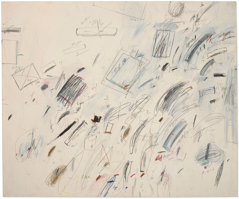 Cy Twombly (1928-2011), Untitled [Bolsena], 1969. Oil-based house paint, wax crayon, graphite and felt-tip pen on canvas. 78½ x 94½ in (199.4 x 240 cm). Estimate $35-50 million. Offered in 20th Century Evening Sale on 6 October 2020 at Christie's in New York