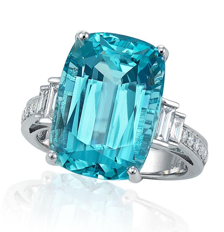 Aquamarine and diamond ring. SizeDimensions of stone 16.50 x 11.65 x 9.25 mm. Sold for HK$62,500 in Jewels Online, 24 September to 5 October 2020, Online