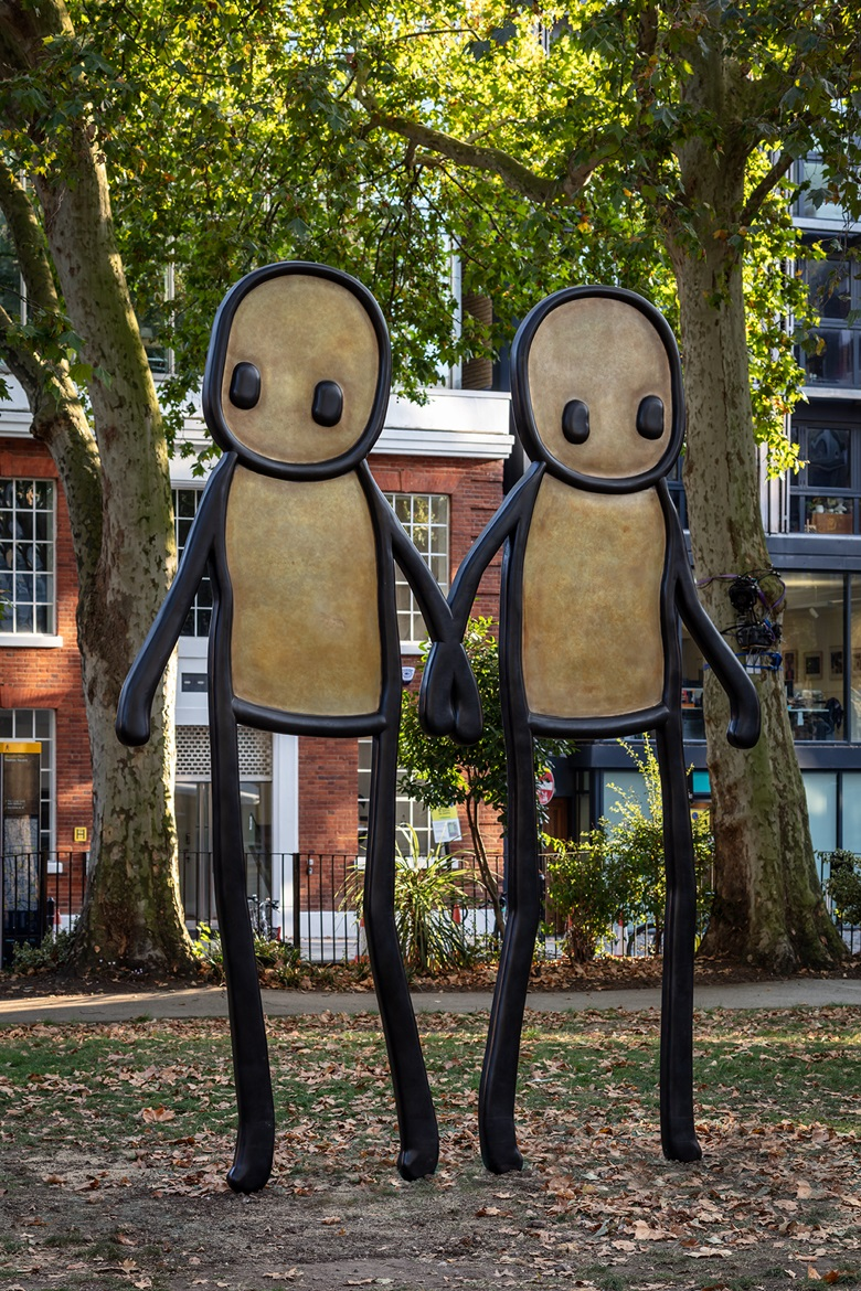 STIK's Holding Hands in Hoxton Square, east London, 2020