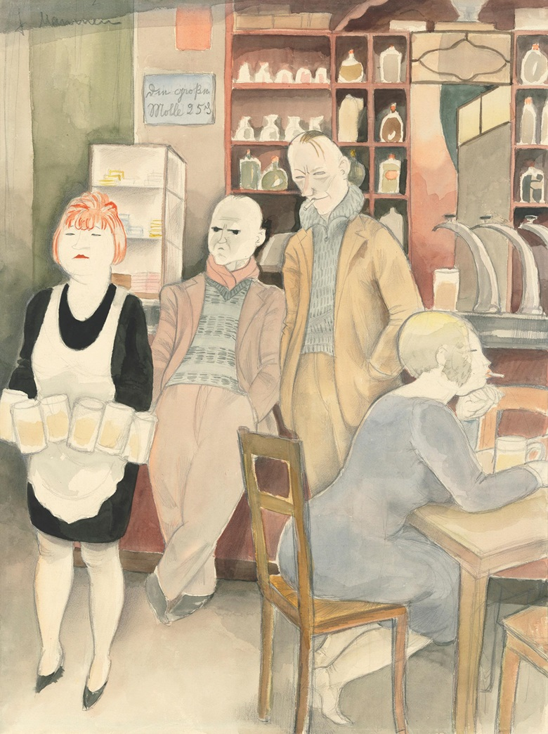 Jeanne Mammen (1890-1976), Bierseidelbetrachtung II, circa 1929. Watercolour and pencil on paper. 47.5 x 36 cm (18⅝ x 14⅛ in). Estimate £50,000-70,000. Offered in The Golden Twenties Berlin through the Eyes of Modern Artists, 22 October-12 November 2020, Online