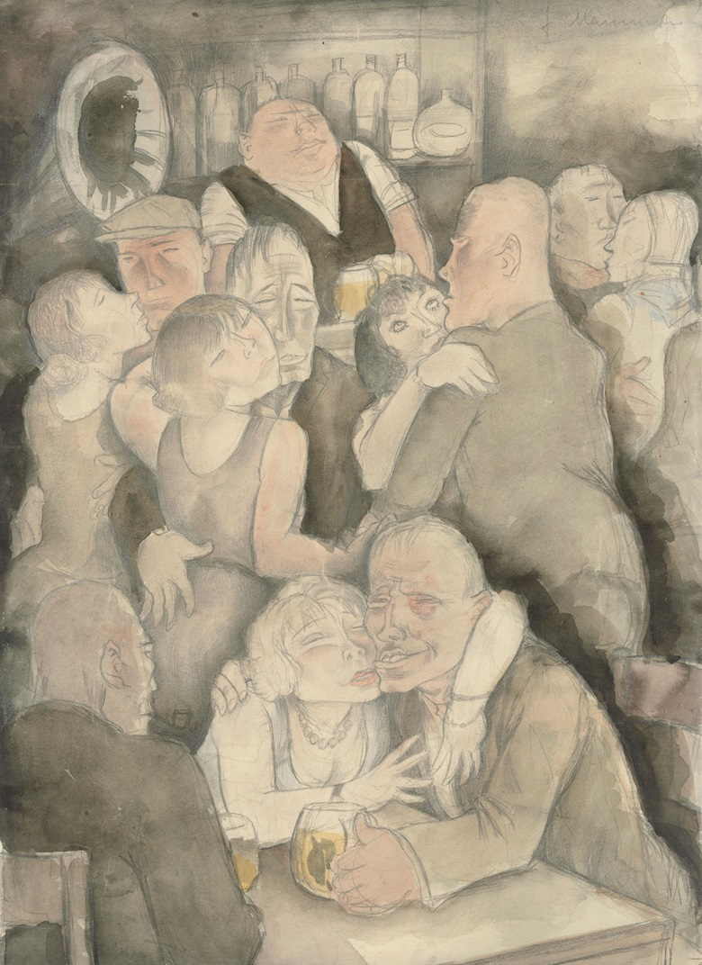 Jeanne Mammen (1890-1976), Kaschemme, circa 1929. Watercolour on paper. 44.9 x 32.7 cm (17⅝ x 12⅞ in). Estimate £50,000-70,000. Offered in The Golden Twenties Berlin through the Eyes of Modern Artists, 22 October-12 November 2020, Online