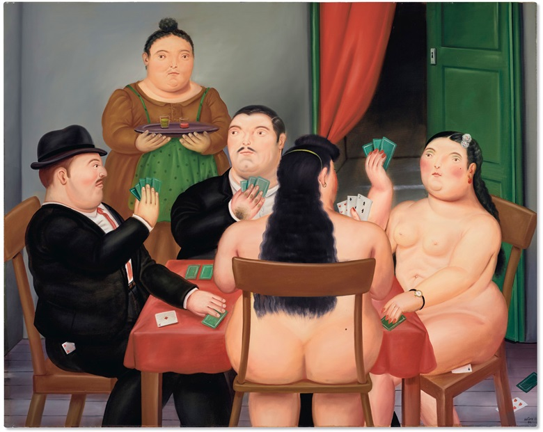 Fernando Botero (b. 1932), Card Players, 1986. Oil on canvas. 59¼ in x 74¼ in (150.5 x 188.6 cm). Estimate $1,000,000-1,500,000. Offered in Latin American Art on 13th November 2020 at Christie's in New York