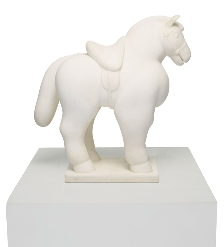 Fernando Botero (b. 1932), Horse with saddle, execution date unknown. White marble. Estimate $500,000-700,000. Offered in Latin American Art on 13th November 2020 at Christie's in New York
