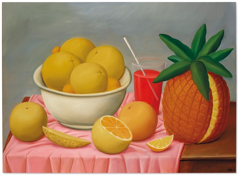Fernando Botero (b. 1932), Still Life with Pineapple, 1988. Oil on canvas. 57½ in x 78 in (146.1 x 198.1 cm). Estimate $400,000-600,000. Offered in Latin American Art on 13th November 2020 at Christie's in New York