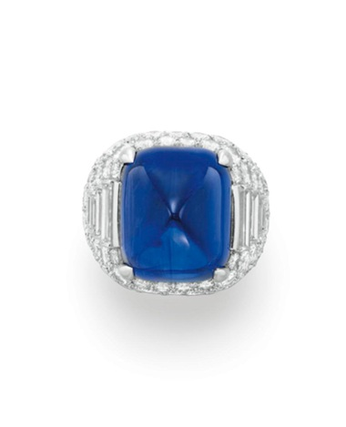 A sapphire and diamond 'Trombino' ring, by Bulgari. Sold for $866,500 on 13 December 2011 at Christie's in New York